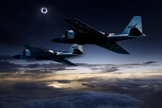 Tracking the total solar eclipse from NASA's WB-57F jets