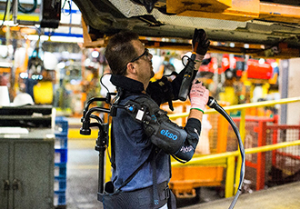 Exoskeleton technology helps factory workers avoid injuries