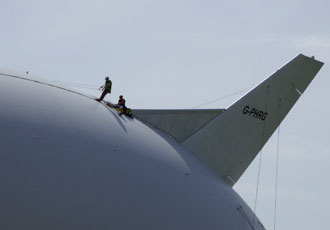 Technicians complete inspection of the world's largest aircraft