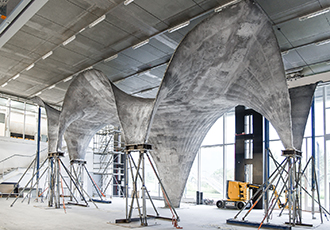 Construction prototype for ultra-thin concrete roof