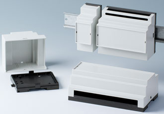 DIN rail enclosures accommodate connections at different levels