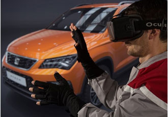 How is virtual reality applied in car manufacturing?