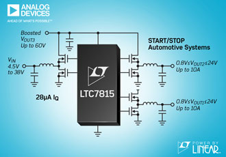 DC/DC controller operates in automotive start/stop systems