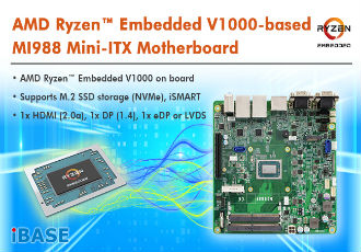 AMD Ryzen embedded V1000-based MI988 mini-ITX motherboard