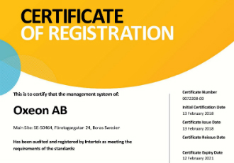 Oxeon AB awarded AS9100D certification