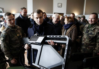 French president visits DroneGun Tactical at army camp
