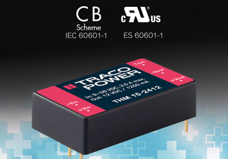"Medical approved 15W DC/DC converter in 1x1.6"" package"