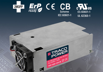 AC/DC power supply offers full-load operation up to +65°C