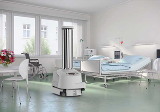 Robot eliminates bacteria and microorganisms in hospitals