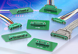 Small, lightweight mixed-layout connectors support 10A