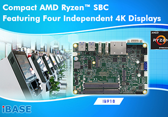 Compact SBC featuring four independent 4K displays