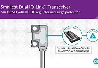 Dual IO-Link transceiver with DC/DC regulator and surge protection