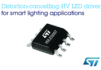 Distortion-cancelling high-voltage LED driver for smart lighting
