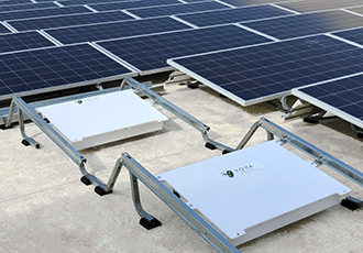 Integrated rooftop panel-level solar-plus-storage