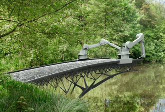 3D robot prints a bridge in steel