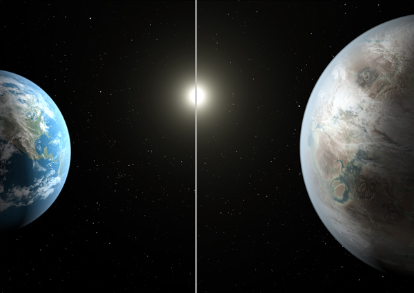 Kepler 452b, compared with Earth at scale