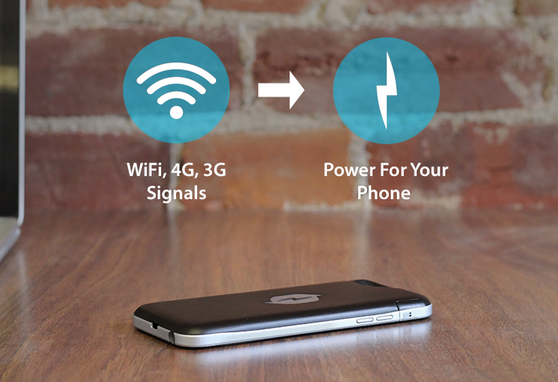 Phone case converts RF signals into DC power