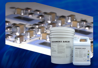 Aqueous solution protects solder joints from chemical attack