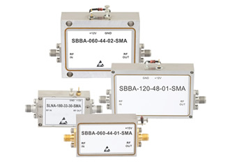 Broadband RF amplifiers provide gain levels from 20 to 48dB