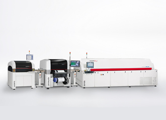 Jet solder paste and mount components in one machine