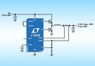 DC/DC controller provides efficient gate drive from 2.5-60V