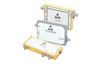 Log video amplifiers cover 0.5-18GHz multi-octave bandwidths