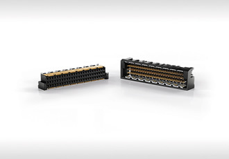 Open pin-field triple row connectors offer 25Gb/s