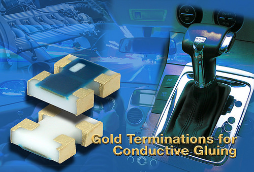 Arrays feature gold terminations for conductive gluing