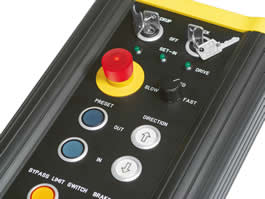 Robust stop switches suit hand-held control units