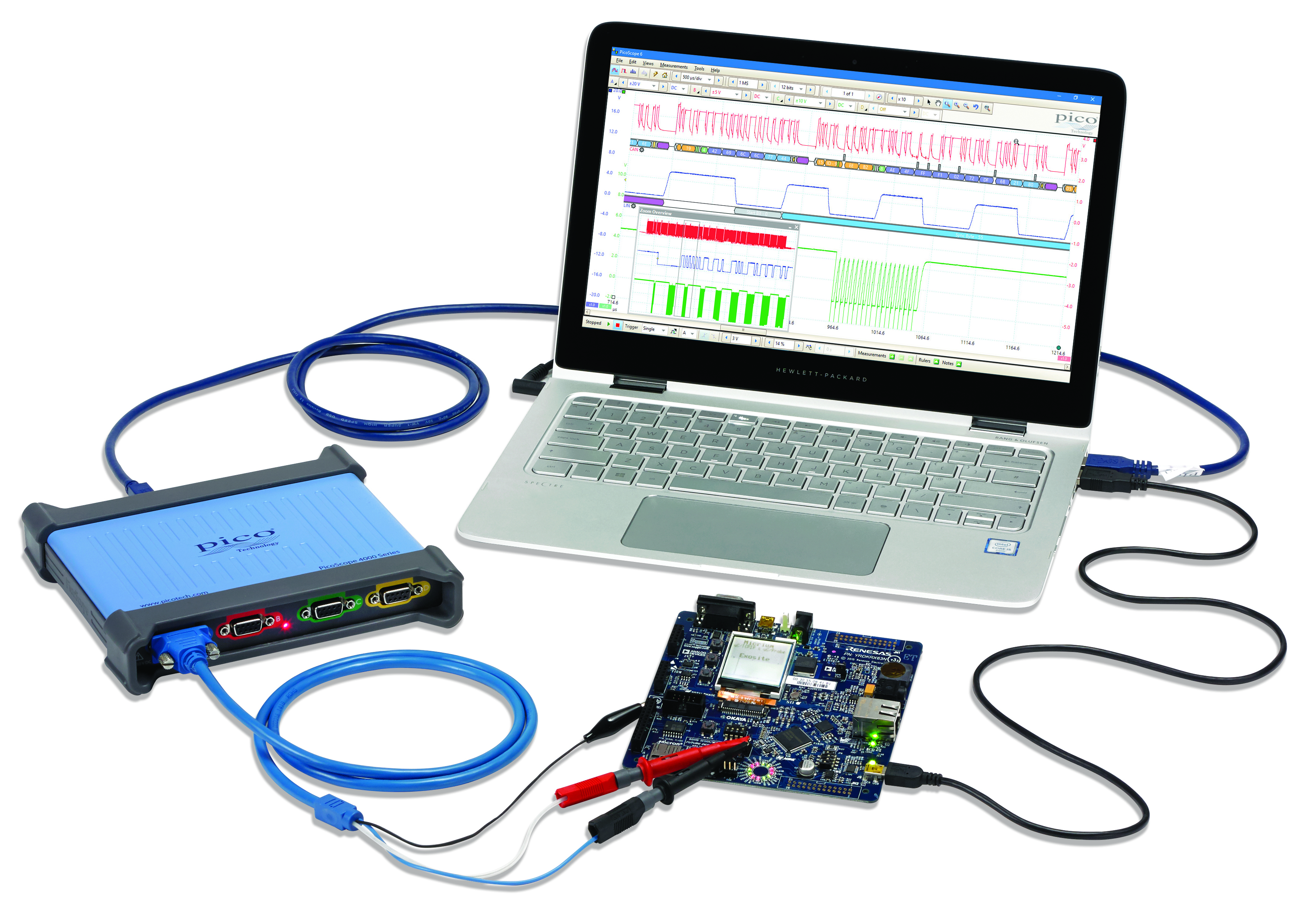 USB oscilloscope offers four differential input channels