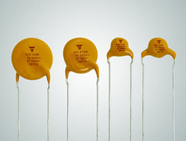 Ceramic disc capacitors extended to save board space