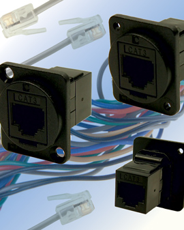 RJ11 and RJ14 connectors now come in panel mount form