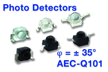 Surface-mount photodiodes with 35° angle of half sensitivity