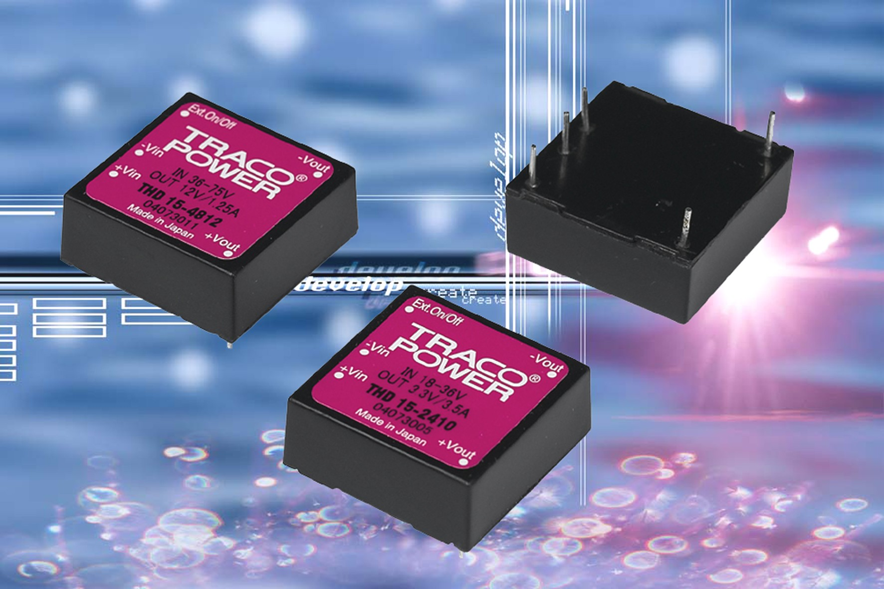 DC/DC converters give 15W from a 1 x 1 x 0.4in package