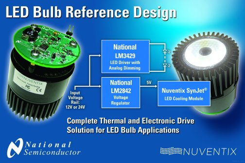 National and Nuventix Introduce Reference Design for LED Bulbs