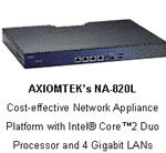NA-820L - AXIOMTEK's Cost-effective Intel Core2 Duo Network Appliance Platform with 4 Gigabit LANs