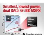 TI offers industry's smallest, lowest power dual, 500-MSPS DACs, reduces the cost of wideband transmit systems