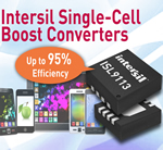 Intersil unveils the ISL9113 single-cell boost converters