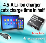 Texas Instruments Announce 4.5-A Lithium-Ion Battery Chargers